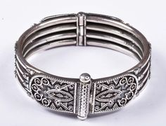 925 Solid Sterling Silver Bangle Stylish Jali Work Easy to Open 53 mm Bangles, Bracelets, Traditional Design, Belt, Sterling Silver, Stylish, Easy, Handmade, Accessories
