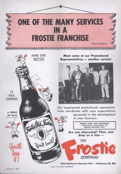 1955 Frostie Root Beer Ad King Size Bottle Shown