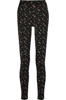 Victoria Beckham Floral stretch-jacquard skinny pants   NET-A-PORTER