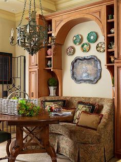 gorgeous space and love the tole tray and majolica