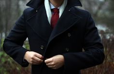 Navy Peacoat . Blue Grid Check Shirt . Burgundy Knit / Felt Tie . Light Grey Scarf