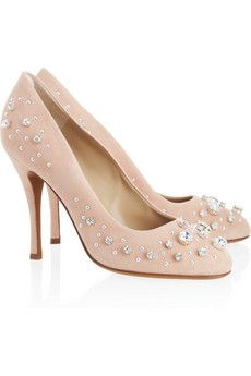 Moschino Cheap and Chic Crystal-embellished suede pumps | THE OUTNET