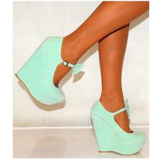 Koi Couture Ladies Hr110 Mint Green Bow Wedges (115 BRL) ❤ liked on Polyvore featuring shoes, heels, bow wedges shoes, high heel wedge shoes, couture shoes, mint green shoes and mint green wedge shoes