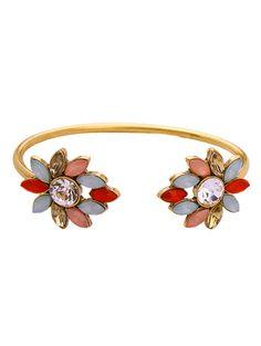 Rhinestone Flower Cuff Bracelet #jewelry, #women, #men, #hats, #watches, #belts, #fashion
