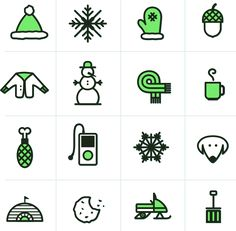 Free icons display: hat, snowflake, mitten, acorn, sweater, snowman, scarff, coffee, chicken, ipod, dog, igloo, cookie, snowmobile, and snow shovel