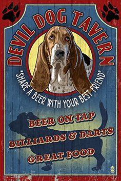Devil Dog Tavern Vintage Sign  Basset Hound 16x24 Giclee Gallery Print Wall Decor Travel Poster