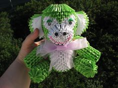 Green monkey Origami Handmade gift Modular by QuillingLife Origami 3d, Modular Origami, 3d Quilling, Origami Monkey, Origami Decoration, Thanksgiving, Fall Decor, Holiday Decor, Origami Animals