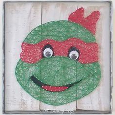 TMNT Raphael Turtle string art all strung up