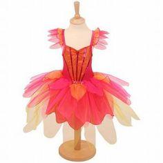 Fuchsia/oranje verkleed jurk Tropical Fairy van Travis Design met glimmend organza bloemblaadjes, versierd met pailletten.
