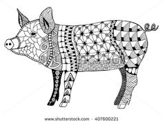 Pig chinese zodiac sign zentangle stylized, vector illustration, pattern, freehand pencil, hand drawn. Zen art. Ornate. Lace. - stock vector