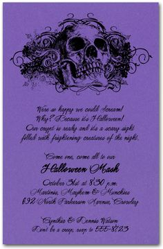 #Halloween Invitations: Grunge Skull on Purple Halloween #Invitations