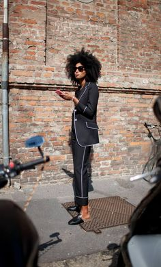 theStyleShake | Street Style | black pyjama style top & trousers with white piping detail