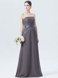 Pin to Win a Wedding Gown or 5 Bridesmaid Dresses! Simply pin your favorite dresses on www.forherandforhim.com to join the contest! | Strapless Chiffon Dress with Lace Bodice $189.99
