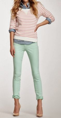 My pink stripe long sleeve shirt would look cool this way. Dressing Your Truth Ideas Type 1: Outfits