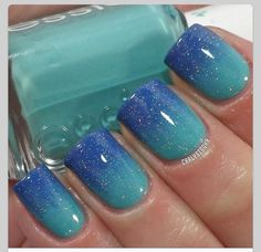 Gradient nails with glitter top coat. using Essie- Where's My Chauffeur, Candie's- Peri-Twinkle and INM- Northern Lights Fancy Nails, Love Nails, My Nails, Shellac Nails, Nail Polish Designs, Nail Art Designs, Gel Polish, Gorgeous Nails, Pretty Nails