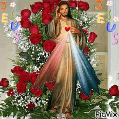 5106010_ad9ae.gif (346×346) Jesus Our Savior, Jesus Art, Heart Of Jesus, Jesus Is Lord, Beautiful Notes, Beautiful Rose Flowers, Beautiful Gif, Pictures Of Jesus Christ, Religious Pictures