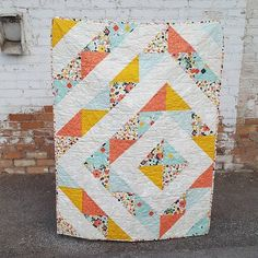 HST Half Square Triangle Baby Girl Quilt in Fancy and Fabulous Riley Blake Fabric. Made by Auntie Em's Crafts.