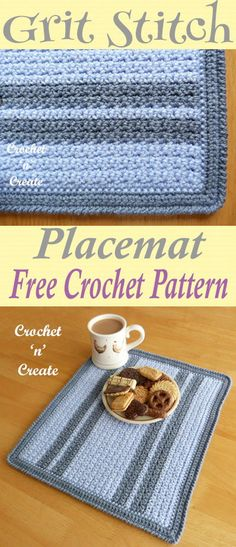 Crochet this grit stitch place mat. Perfect for your tables and sideboards. Free crochet pattern. #crochetncreate #freecrochetpatterns #crochetforkitchen