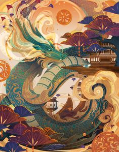 Chinese Allusions Dragon Legend on Behance Arte Peculiar, Chinese Art, Chinese Dragon, Pretty Art, Asian Art, Japanese Art, Cool Drawings, Art Inspo, Painting & Drawing