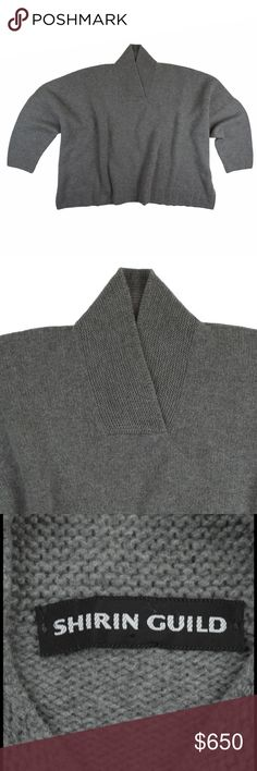"New SHIRIN GUILD 100% Cashmere Oversized Sweater NWOT. Stunning - rare gem! This gray pure thick Cashmere sweater from SHIRIN GUILD features a collared neckline, drop sleeves and a oversized boxy fit. Made of 100% Cashmere. Retails for 2395.00 (...that's not a typo) amazing sweater. Measures: bust: 70"", total length: 25"", sleeves: 14"" Shirin Guild Sweaters"