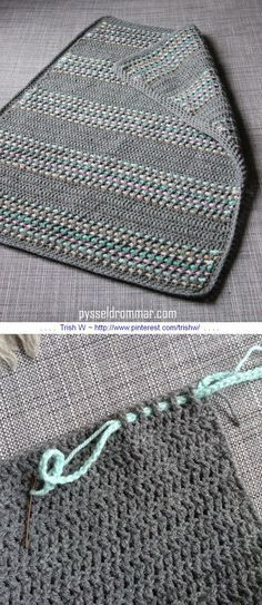 A very simple baby blanket worked in all DC, with a super-easy way to add color by weaving chains through the stitches. Free tutorial from Pysseldrommar - use Google translate, but photos are self-explanatory * ༺✿ƬⱤღ✿༻