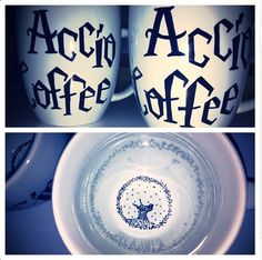 Accio Coffee Mug.  DIY: Draw on white mug with Sharpie.  Place in over as it heats to 350 degrees and bake for 30 min.  Let mug cool and repeat baking process.