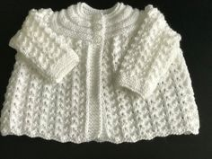 New Hand knitted Baby Girls  White Matinee cardigan fits 0-3 months