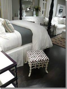 Bedroom Decor: Paint: Valspar Woodlawn Colonial Grey White Sheets, Grey Comforter, white dust ruffle Black/ white geometric fabric for throw pillows or black white bold chevron. Dark floors Ikea Hemnes 8 Drawer dresser