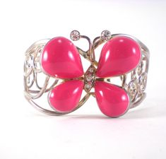 Pink Butterfly Cuff Bracelet Silver Enamel Best Jewelry Makers 1980s Boho Chic Vintage Jewelry by paleorama on Etsy
