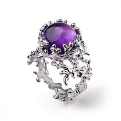 CORAL Purple Amethyst Ring Sterling Silver Amethyst Ring Large Amethyst Ring Purple Amethyst Engagement Ring Statement Ring USD) by AroshaTaglia Black Onyx Ring, Black Rings, Gold Rings, Onyx Engagement Ring, Italian Gold Jewelry, Purple Amethyst, Amethyst Gemstone, Amethyst Rings, Purple Haze