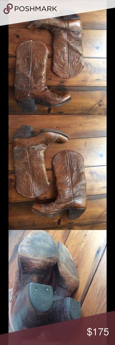 Vintage custom made cowboy boots 1940's early 50's For the serious vintage loving cowgirl, these are the real deal. I have owned these for over 25 years but wore them little. As the pix show, heels and soles are original and still in great condition. Custom made, no inside print, beautiful butterfly stitch, stacked wooden Cuban heels and original leather soles. Nothing hidden here, all wear as shown. Fits as an 8. Vintage Shoes Heeled Boots