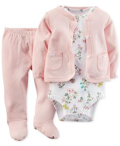Carter's Baby Girls' 3-Piece Cardigan, Bodysuit & Pants Set