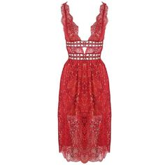 For Love and Lemons Mon Cheri Midi Dress ($490) ❤ liked on Polyvore featuring dresses, party dresses, lace dress, lace cocktail dress, red cocktail dress and red holiday dress