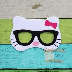 Geeky Cat Mask ~ ITH Embroidery Design