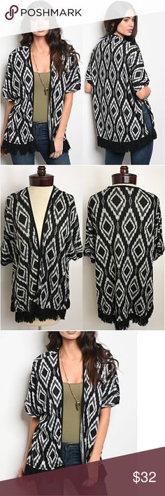 """Work & Play Boho Fringe Cardigan SMLXL Work or play versatile boho chic relaxed fit cardigan with fringe trim hem.  Slit sides for more movement. Black, gray & ivory soft lightweight 95% polyester- 5% spandex  Small (Will Fit Med) Bust 40"""" Length 28.5"""" Medium (Will Fit Lg) Bust 41"""" Length 29"""" Large (Will Fit XL) Bust 42"""" Length 29.5"""" Sweaters Cardigans"""