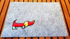 SAUSAGE DACHSHUND MAT Gray Fluffy Felt Natural Colourful 3D Dog Panel Placemat Drink Food Handmade Fabric Birthday Gift
