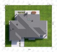 Расположение дома на участке X12 Modern Bungalow House, Roof Plan, Building Structure, Outdoor Furniture Sets, Outdoor Decor, Architecture Design, House Plans, How To Plan, Diana