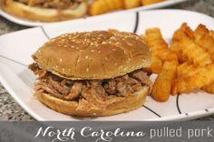 North Carolina Style Pulled Pork Sandwiches - Rainstorms and Love Notes North Carolina Vacation Spots, North Carolina Homes, Pork Recipes, Slow Cooker Recipes, Pork Ham, Fabulous Foods, Weeknight Meals, Pulled Pork, Food To Make
