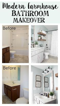 Modern Farmhouse Bathroom Makeover Bless'er House - So many great ways to create charm in a builder grade bathroom on a budget! Bad Inspiration, Bathroom Inspiration, Bathroom Inspo, Modern Farmhouse Bathroom, Farm House Bathroom, Kitchen Rustic, Kitchen Ideas, Farmhouse Interior, Farmhouse Bathroom Accessories