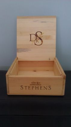 Customized Wooden Wine Box - Stephens $55.00 thecraftstar, customized wood box, personalized wood box, centerpiece, unique gift