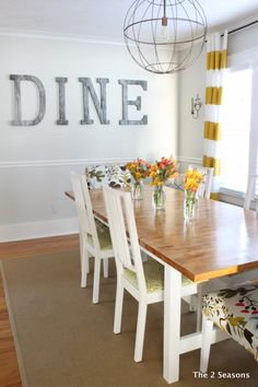 A light, bright dining room is sure to serve dreary day refreshment.