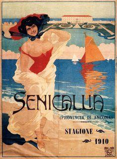 Travel Poster Anonymous, 1910, Senigallia, Provincia di Ancona, Italy.