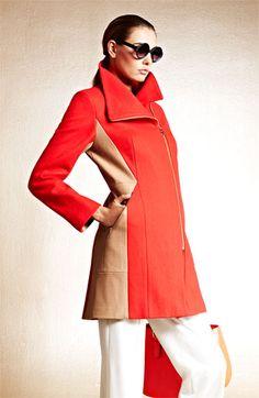 Calvin Klein Two Tone Asymmetrical Walking Coat | Nordstrom