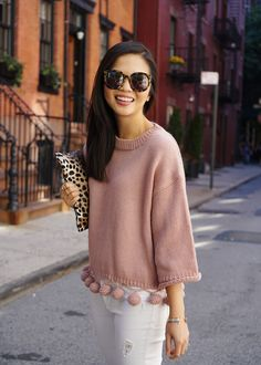 Fall Outfit: Pink Pom Pom Sweater & White Jeans