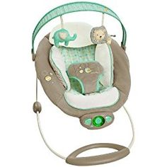 Ingenuity Auto Bounce Bouncer in Whimsical Wonders, Green