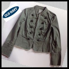 OLD NAVY  Military Style Distressed Jacket OLD NAVY  Military Style distressed  Jacket. Hook &eye closures. Slither sleeves. Great condition!! Old Navy Jackets & Coats