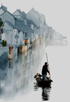 China Travel Inspiration - Chian Tsun Hsiung, China Loving this. Looks like a man is rowing into a painting. Beautiful World, Beautiful Places, Beautiful Pictures, Peaceful Places, Places Around The World, Around The Worlds, Foto Nature, Magic Places, Suzhou