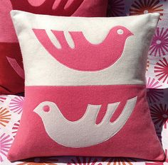 "Modern Scandi-Birds Cashmere Pillow Cover 14.5"" pink & white Home decor or Nursery Decor by Reverie Textiles on Etsy, $60.00"