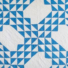 Photo by Stitched Half Square Triangle Quilts, Traditional Quilts, Blue Quilts, Vintage Quilts, Vintage Love, Red And White, Blanket, Rug, Blankets