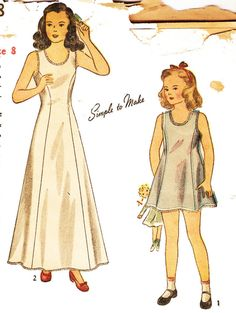 Simplicity 1958 Vintage 1940s Girl's Slips in Two Lengths Sewing Pattern Sz 8 by DRCRosePatterns on Etsy